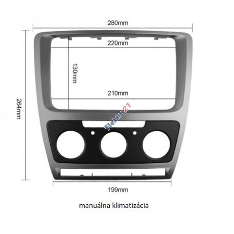Rámik autorádia Škoda Octavia 2 facelift manuálna klimatizácia